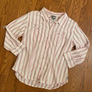 The North Face Pink Striped Snap Front Top Large